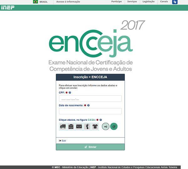 Preencher os dados do candidato na inscrição Encceja