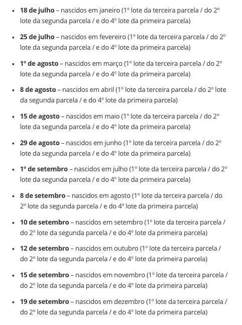 Calendário para saques Auxílio