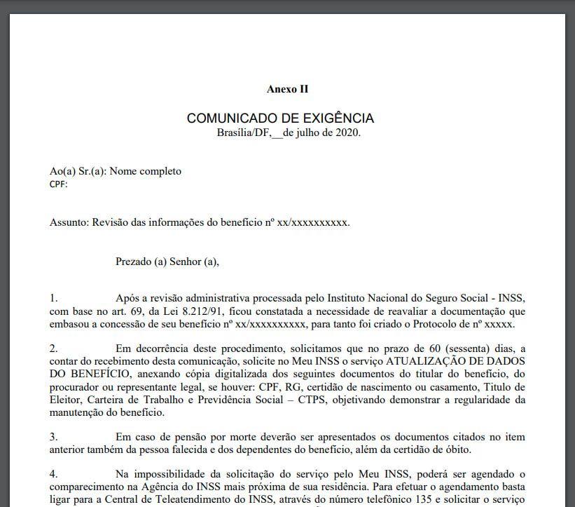 Carta Revisão das Informações INSS