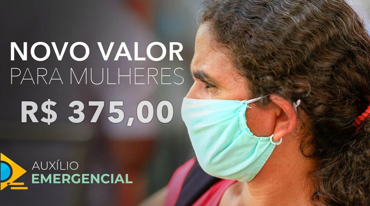 NOVO VALOR! Auxílio Emergencial de R$ 375,00 para MULHERES CHEFES de FAMÍLIA