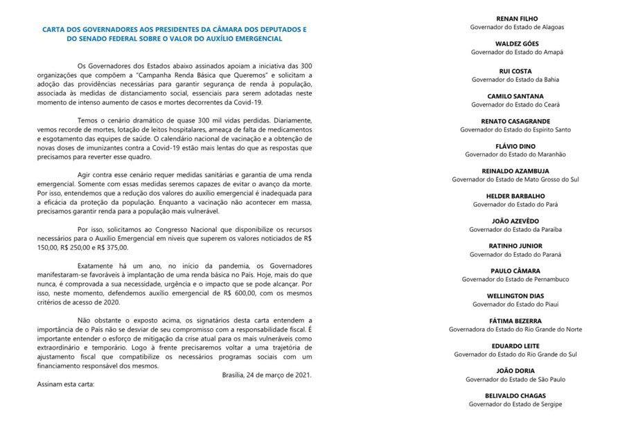 pedido de aprovação de um Auxílio Emergencial de R$ 600