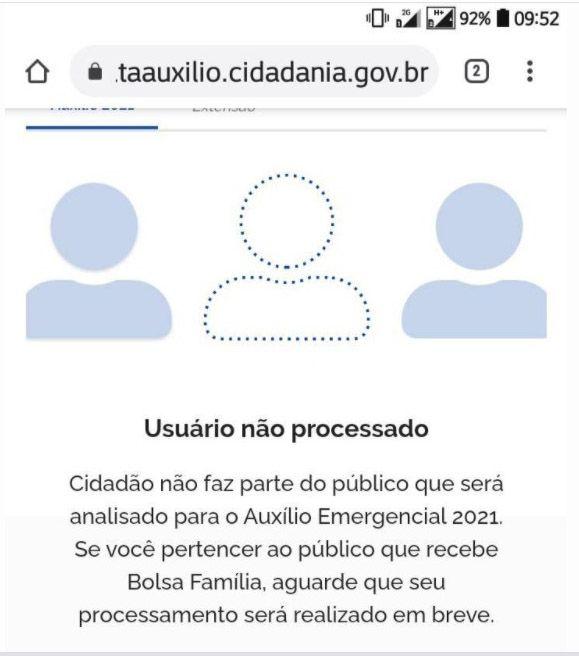 Erro Usuário não processado Dataprev