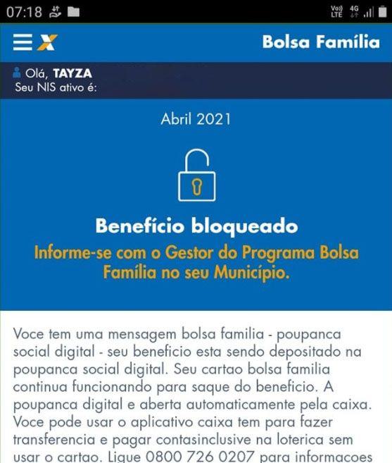 Por que o Bolsa Família está bloqueado