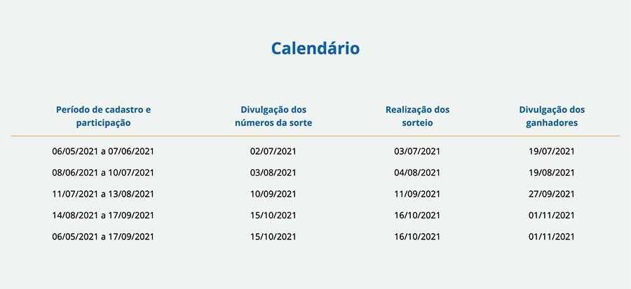 calendário dos sorteios da Caixa Tem Prêmios em 2021