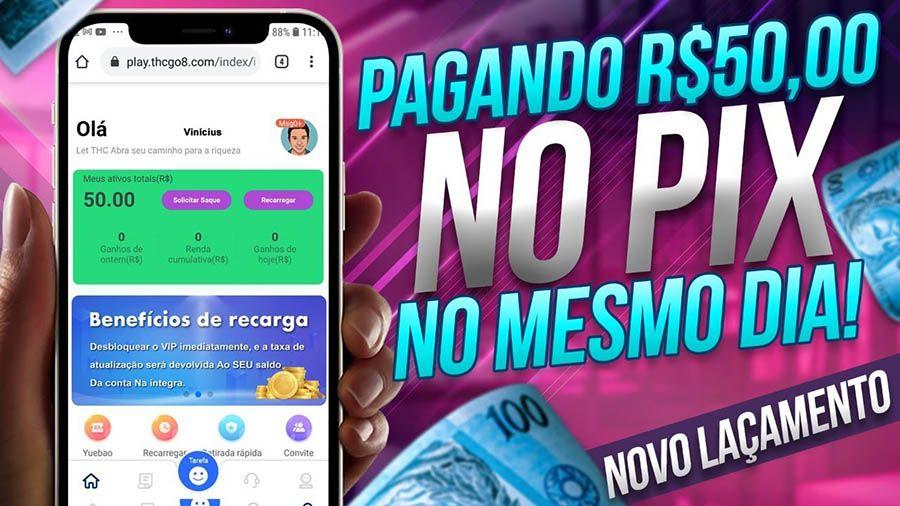Aplicativo PlayTHC promete pagar R$50,00 no Pix