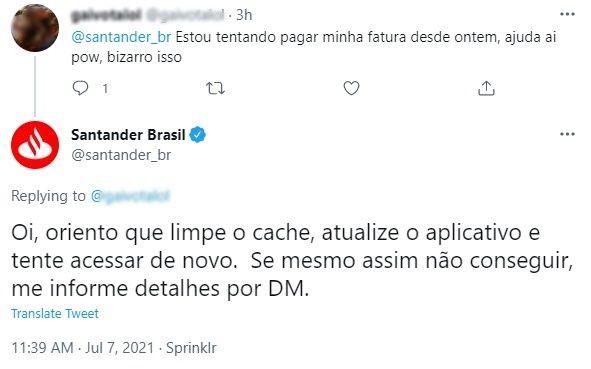 Aplicativo Santander está fora do ar
