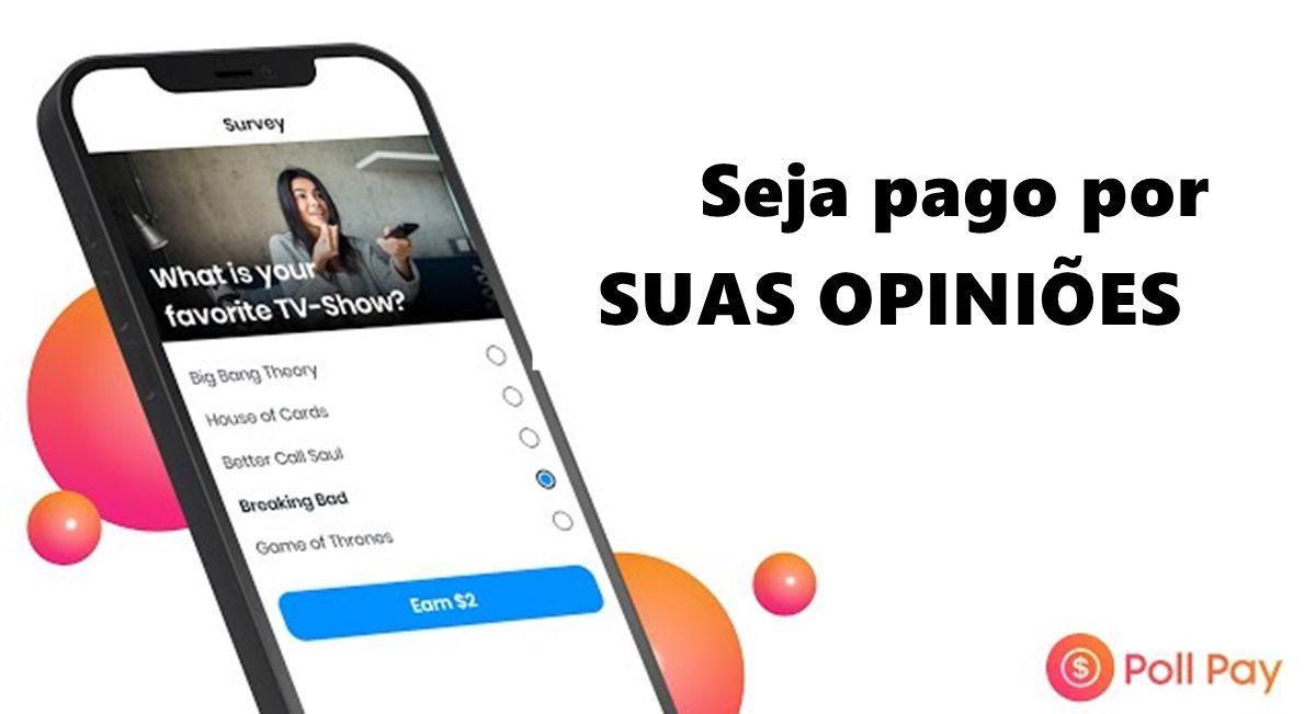 Poll Pay App Receba pelo PayPal respondendo pesquisas remuneradas