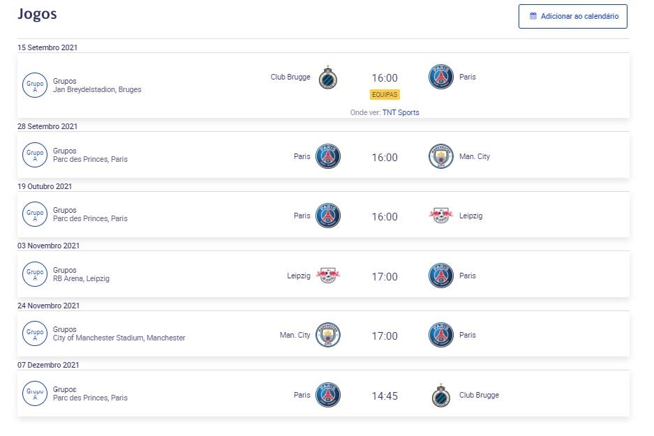 Jogos do PSG na Champions: Onde assistir ao vivo online de graça - Tabela, Escalação, Grupos