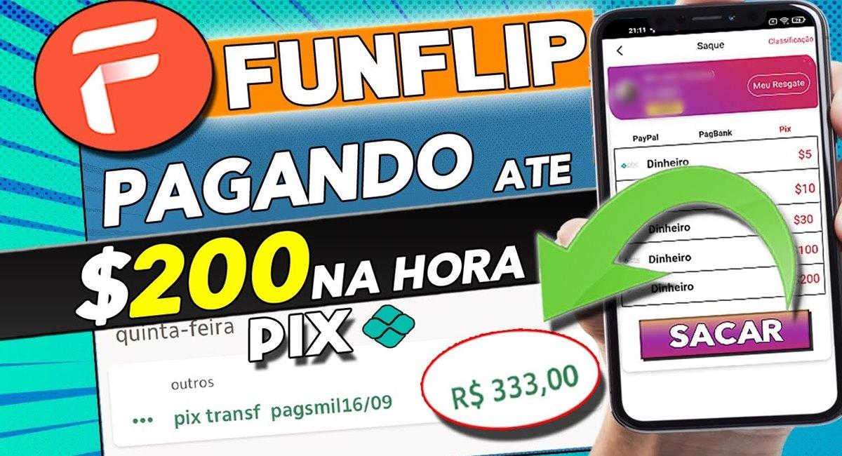 FunFlip App Aplicativo com pagamentos via Pix e PayPal na hora funciona mesmo