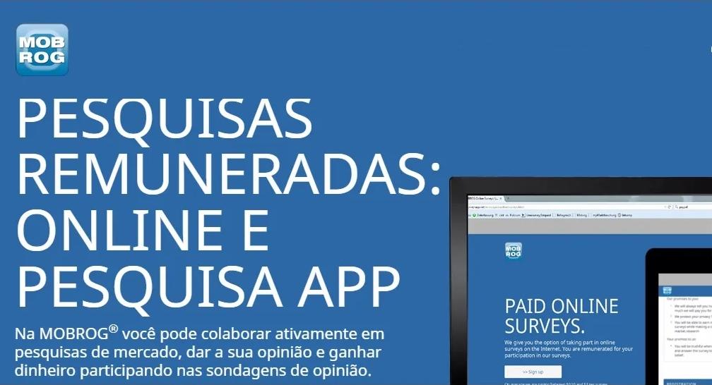 MOBROG Brasil Plataforma Pesquisas remuneradas com pagamento via Pix em 24 horas é real