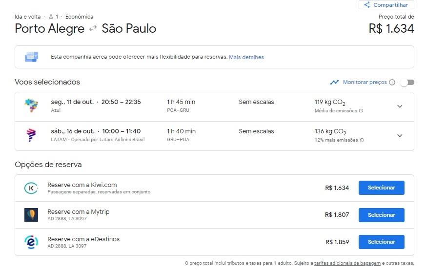 imagem: reprodução do site Google Flights/Google